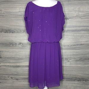Vince Camuto Sparkly Purple Blouson Dress Size Med